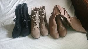 3 pairs of shoes plus free 47 piece glitter nail polishes for Sale in Portland, OR