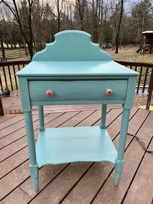 Antique solid wood spruce green farmhouse kitchen stand table dry sink for Sale in Kensington, MD
