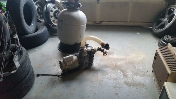 Swimming pool sand filter and pump with 2chemicals