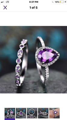 Purple Engagement Ring Set Women Wedding Bridal Ring Sets / for Sale in Brownsboro, TX