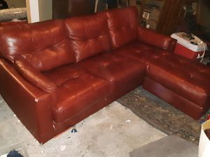 Real red leather two piece couch/sectional, LOW AS IT GOES. for Sale in Columbus, OH