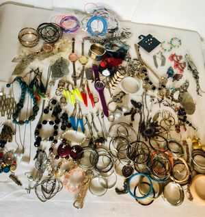 Large Costume junk jewelry lot earrings necklace bangles rings for Sale in Hendersonville, TN