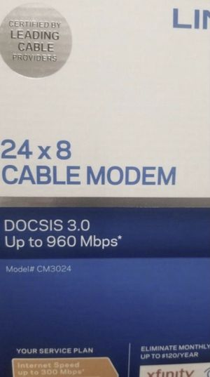 MODEM DOCSIS NEW 3.0 LYNKSYS for Sale in Schaumburg, IL