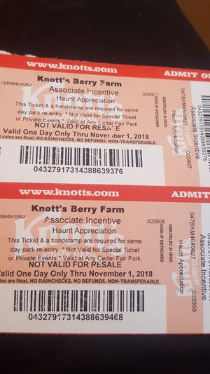 2 knotts berry farm tickets for $20 for Sale in US