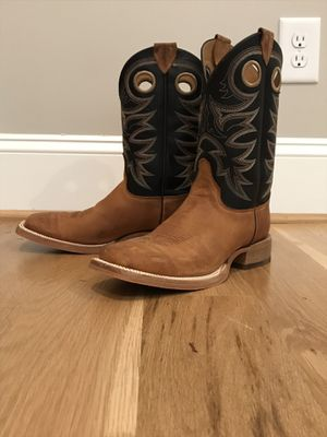 Justin Mens Caddo Brown/Black Western Boots-Size 9 for Sale in New Hill, NC