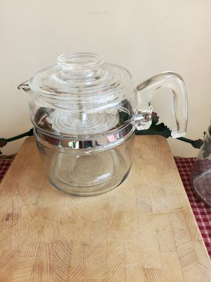 Vintage pyrex flameware stovetop percolator 7756 6 cup for Sale in Cranston, RI
