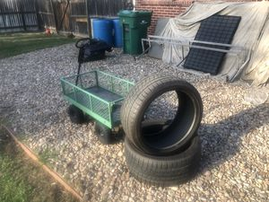 tires and little cart for sale! 265, 35, 20. Almost new. Tires:$80. Cart:$40 for Sale in Commerce City, CO