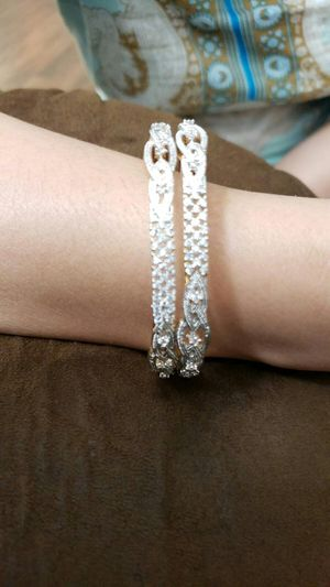 Ladies bangle silver with white zircone stone sizes 6.5 cm for Sale in Moreno Valley, CA