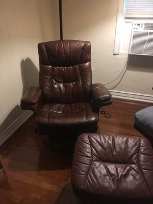 Faux leather reclining chair with ottoman for Sale in Fort Lauderdale, FL