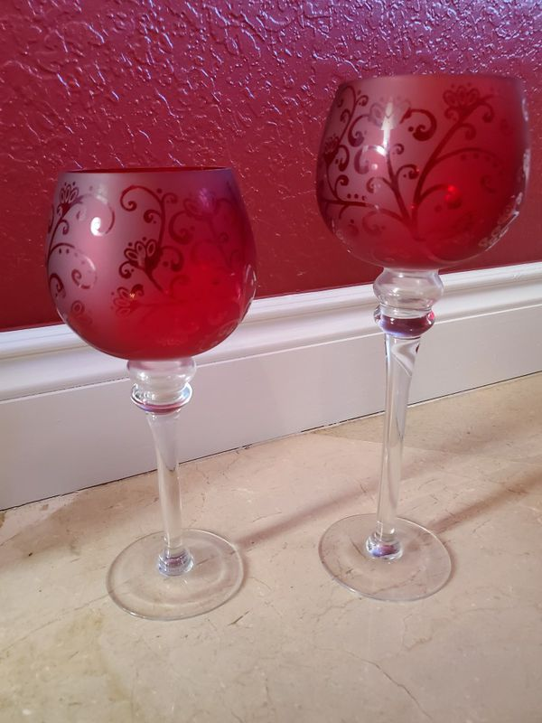 Beautiful burgundy/ red glass candle stands