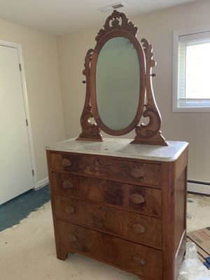 Antique tall dresser with marble top and mirror for Sale in Fairfax, VA