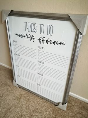 Silver Framed Things to Do List Whiteboard Wall Decor for Sale in Sunnyvale, CA