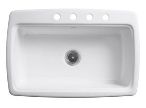 KOHLER View the Collection Cape Dory Drop-in Cast Iron 33 in. 4-Hole Single Bowl Kitchen Sink in White for Sale in Fort Lauderdale, FL