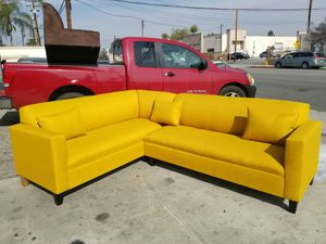 NEW 7X9FT PAULINE MUSTARD FABRIC SECTIONAL COUCHES for Sale in Las Vegas, NV