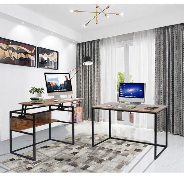 New L-Shaped Corner Desk Computer PC Laptop Workstation Lifting Bracket Function