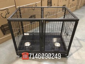 Dog pet cage training kennel size 43 with divider and feeding bowls new in box 📦 for Sale in Pomona, CA