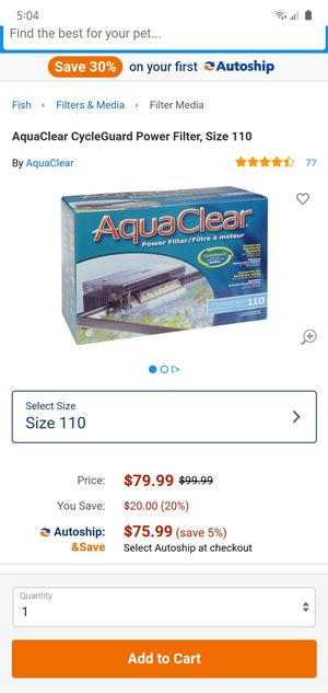 Fluval aquaclear 110 for Sale in Irving, TX