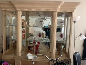 Antique China cabinet with matching table lil cracks for Sale in Irving, TX