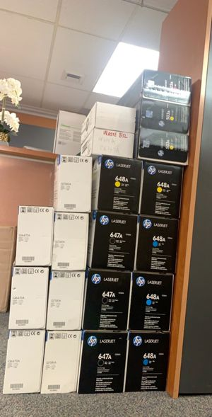 Oem hp toners and waste containers for hp cp4025 models black 647a cartridge and colors 648a, also have waste containers for that printer. Also have for Sale in Huntington Beach, CA