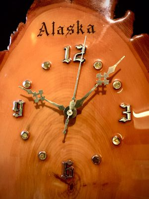 Beautiful tree slice decorative wall accent clock from Alaska H19xW10xD2 inch for Sale in Chandler, AZ