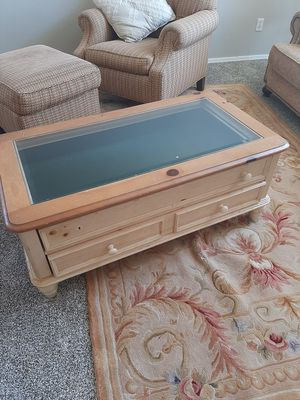 Glass wood coffee table for Sale in Chandler, AZ
