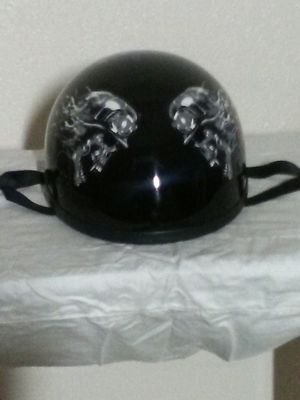 Skid Lid Motorcycle Half Helmet U-70 with biker Skull design for Sale in Puyallup, WA