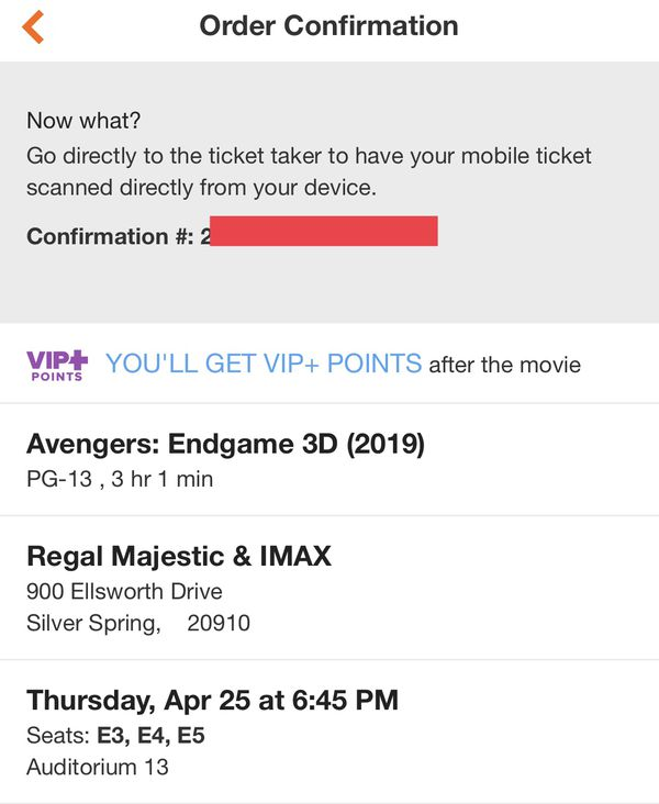 Avengers Endgame - Thursday Premier Movie Tickets