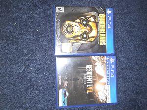 Ps4 games,resident evil and borderlands for Sale in Walkersville, MD