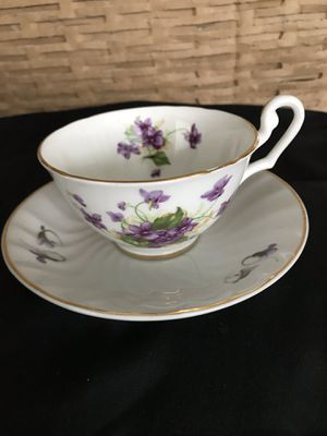 Clarence Bone China Teacup, Hand Painted Violet s on crisp white China Teacup, Saucer,not matched but perfect together.. for Sale in Las Vegas, NV