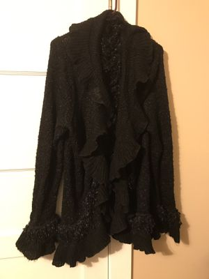 ***LANE BRYANT BLACK CARDIGAN RUFFLE NECK & FRINGED NECK & ARMS SIZE 22/24*** for Sale in Portland, OR