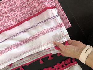 Sheer Pom Pom trim curtains pink and white stripe for Sale in Harrisonburg, VA