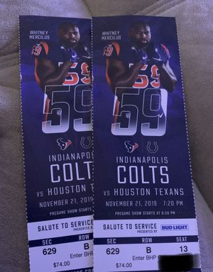 Texans vs colts TNF!!! for Sale in Rosharon, TX