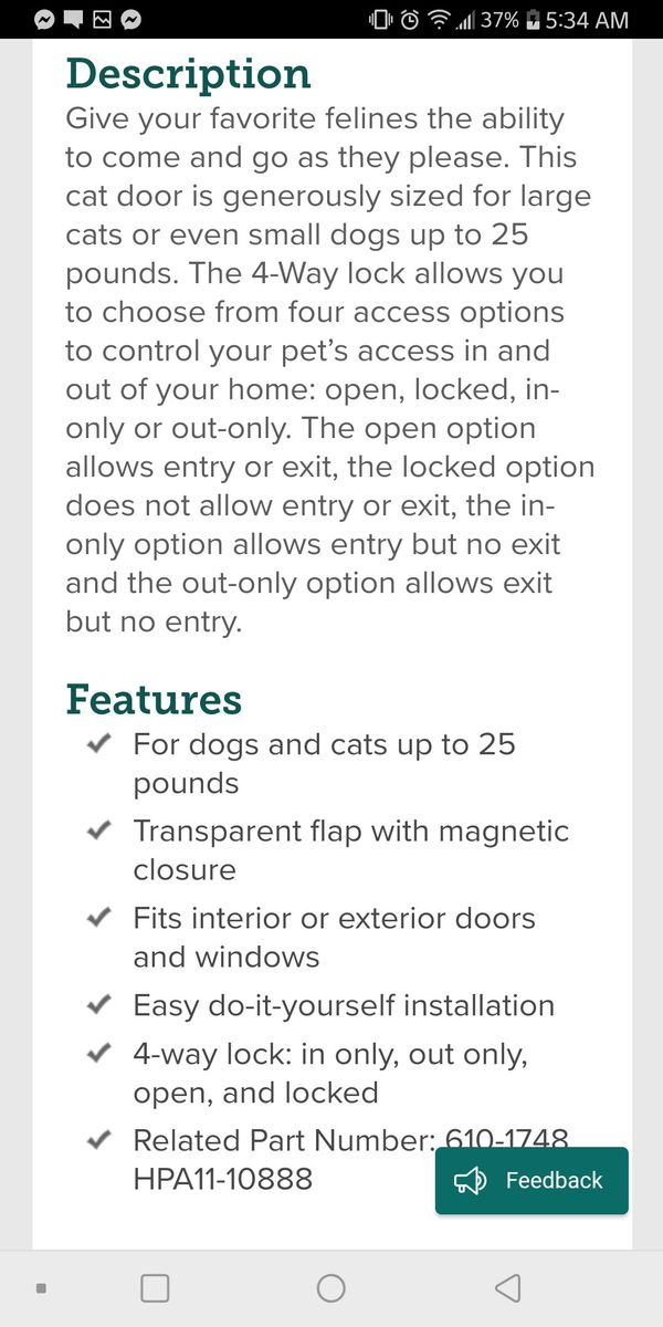 New pet door (for cats and small dogs)