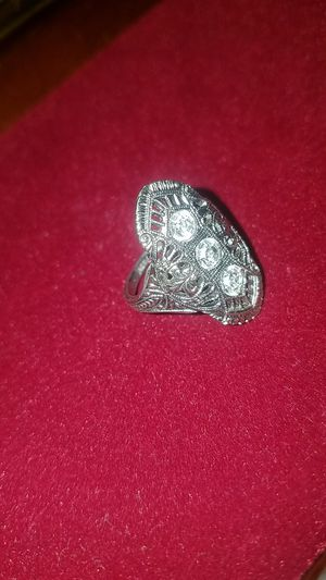 PALE white Crystal Stamped Silver Ring for Sale in Fairfax, VA