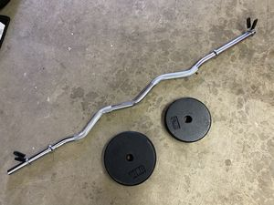 Curl Bar and Weights for Sale in Auburn, WA