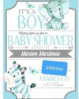 Elephant Theme Baby Shower Invitations for Sale in Inglewood, CA