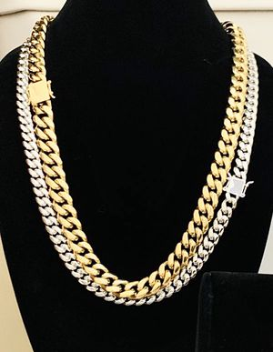 2 chain for $130 no change color real gold bonded in stainless for Sale in Tukwila, WA
