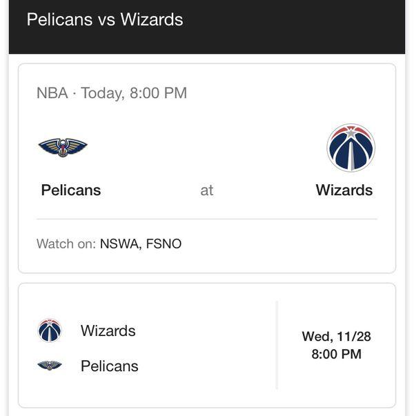 Wizards tickets. Wizards vs. Pelicans