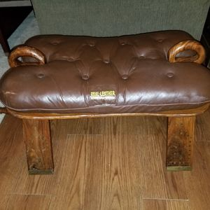 Brown leather Foot Stool With Gold Details for Sale in Houston, TX