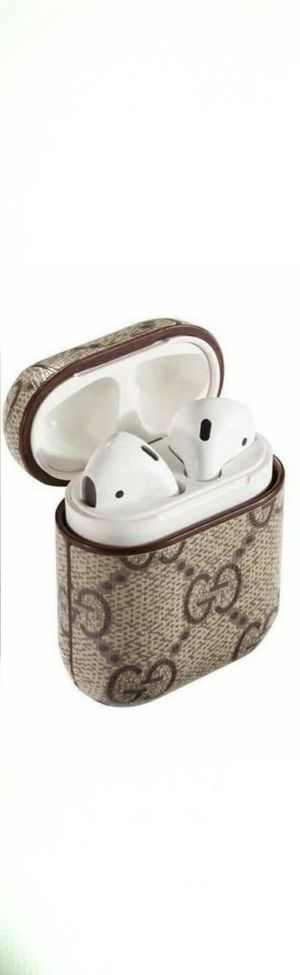 Luxury Leather Shockproof Cover Wireless Headphone Designer Fashion Nonbrand gift Skin Protect Apple Airpods 1 & 2 Case iphone ipad for Sale in Auburn, WA