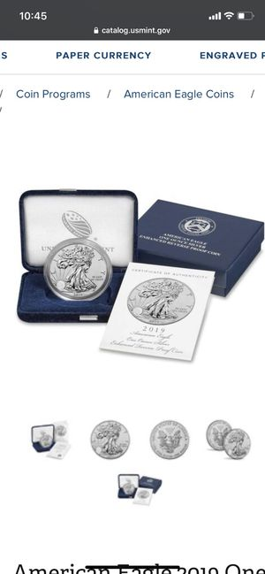 American eagle 2019 one ounce silver enhanced reverse proof coin for Sale in Brea, CA