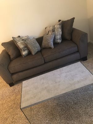 Grey Couch + Marble grey coffee table for Sale in Nashville, TN