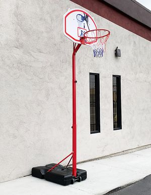 """New $75 Basketball Hoop w/ Stand Wheels, Backboard 32""""x23"""", Adjustable Rim Height 6' to 8' for Sale in Montebello, CA"""