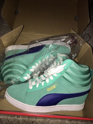 Brand New Limited Edition PUMA Woman's Electric Green Suede Wedge Sneakers for Sale in Fredericksburg, VA