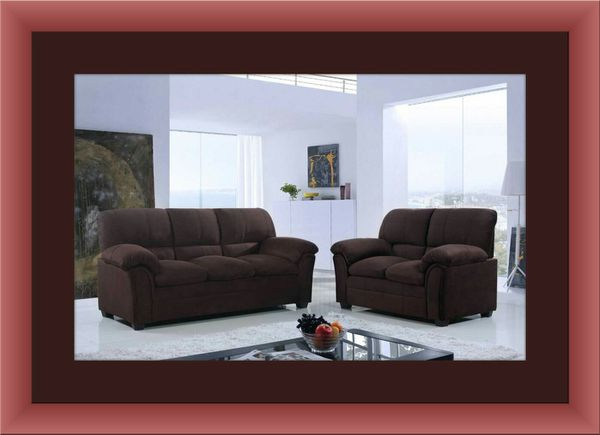 Chocolate microfiber sofa and love seat free delivery