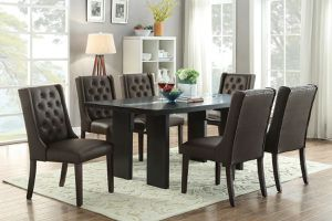 ESPRESSO UPHOLSTERED PARSON DINING CHAIRS 7 PIECE DINING TABLE SET for Sale in Riverside, CA
