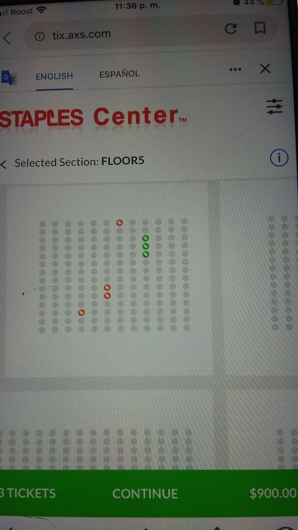 3 tickets con parking 14 de febrero staples center