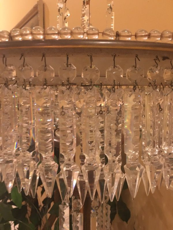 Antique Italian beaded crystal lamp