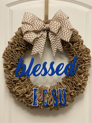 """""""Blessed"""" Burlap Wreath- Any color available for Sale in Raleigh, NC"""