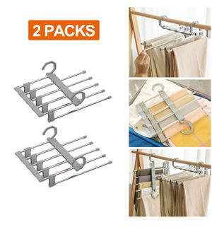 Hangers Space Saving Stainless Steel Trousers Hangers S-Shape Clothes Hangers Open Ended Closet Organizer for Pants Jeans Scarf (White or Gray, 2 Pac for Sale in Rancho Cucamonga, CA
